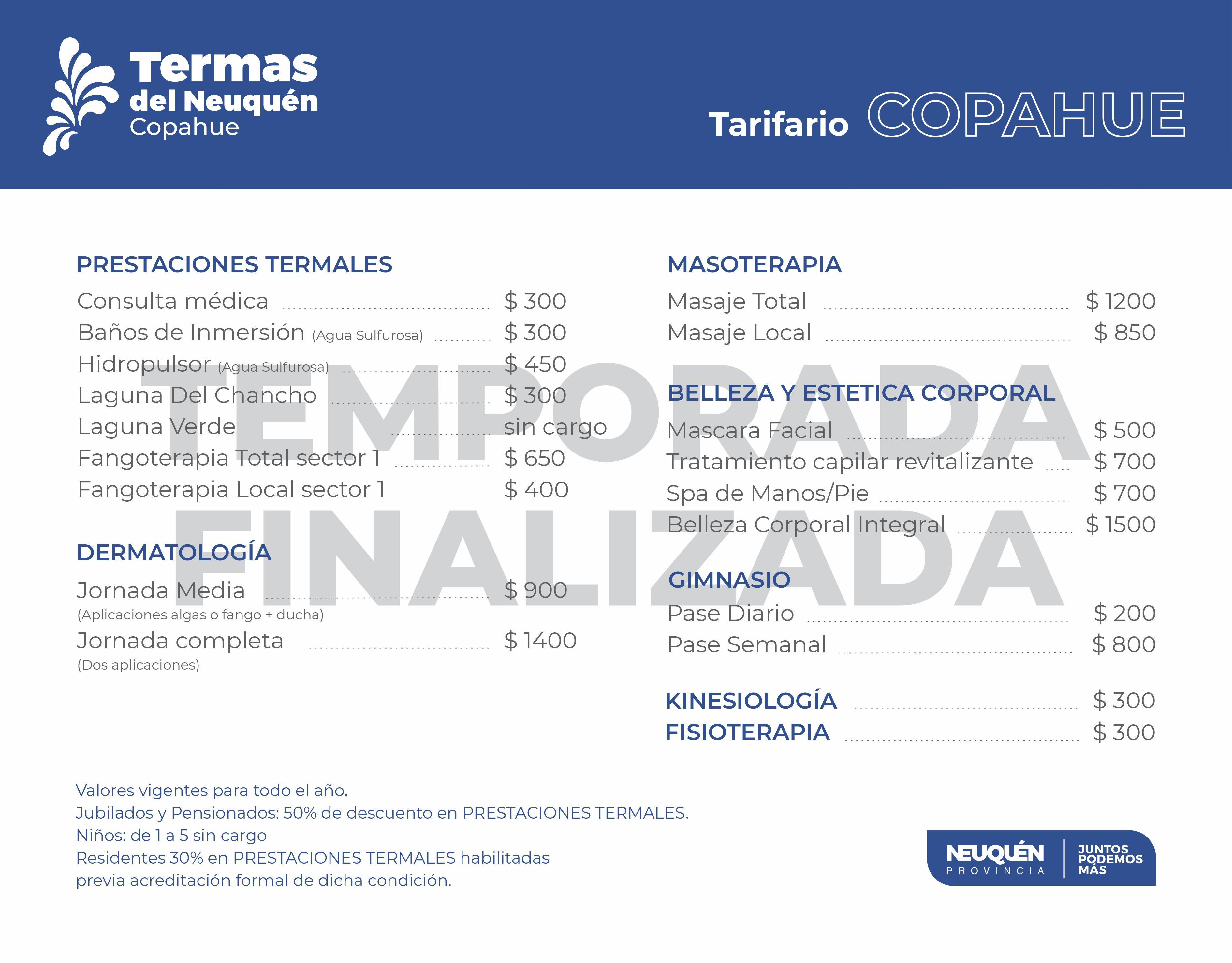 Tarifas 2020 2021 Copahue